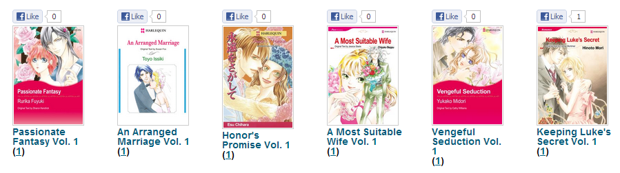 Screenshot of Harlequin manga covers with Facebook 'like' boxes on top; one of them, 'Keeping Luke's Secret,' has received a single lonely 'like'.