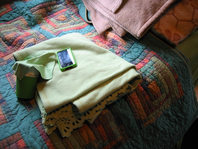 Lime-green throw blanket, bedsheets, phone case, coffee cup, glasses rag.